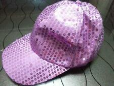Unisex Sequined Ball Cap Sparkle Cycling Sun Hat Outdoor Rave Party Light Purple