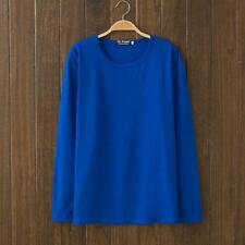 No Brand Unisex Solid Color Design Sporting Round Neck Dark Blue Long New Shirt