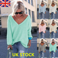 UK Women V Neck Long Sleeve Knitted Sweater Loose Pullover Jumper Knitwear Tops