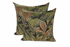 """Set of 2 - 22"""" Square Zipper Pillow Covers In / Outdoor Black Green Palm Leaf"""