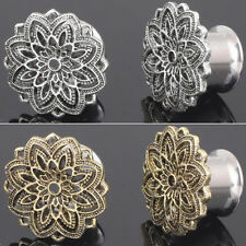 Flexible Stainless Steel Flower Ear Gauges Plug Tunnel Stretcher Earrings Expend