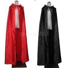 Adult Hooded Cloak Costume Gothic Devil Cape Medieval Wizard Robe Fancy Dress