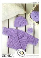 Knitting Pattern Wrap Cardigan Hat Babies Wool 0 To 4 Years 41-61 cm 16-24 inch