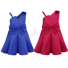 Girl Kid One-shoulder Flower Bow Satin Princess Wedding Bridesmaid Pageant Dress