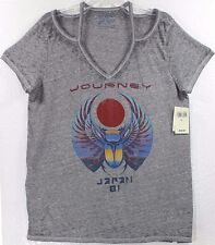 NWT Lucky Brand Journey Japan 81 Scarab Logo Open Shoulders Womens T-Shirt Tee