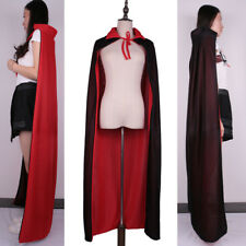 Adult Kid Deluxe Cape Robe Fancy Dress Gothic Witch Cloak Halloween Long Costume