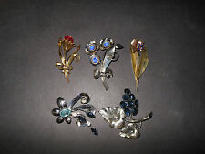 Vintage Large Sterling Silver Brooch/Pin Lot Of (5) - 1940's - 50's