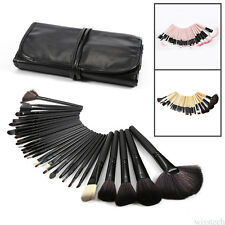 32pcs Professional Soft Cosmetic Eyebrow Shadow Makeup Brush Kit + Pouch Bag THL