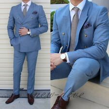 Sky Blue Men's Suit 3 Piece Groom Tuxedos Wedding Guest Party/Work Custom