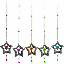 88cm Star Shape Hanging Lantern - Candle Holder Moroccan Rustic Coloured
