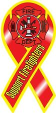 """4""""-10"""" SUPPORT Our FIREFIGHTERS Fire Rescue Maltese Car Ribbon Magnet"""