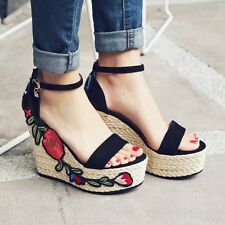Retro Womens Boho Floral Pattern Strap Buckle Shoes Sandals Platform Wedge Heels