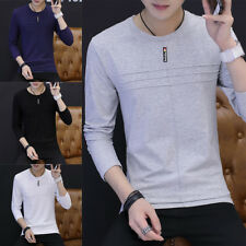 Round neck Casual Solid color T-Shirt Men's T Shirt Long Sleeve Cotton T Shirt