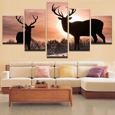 Animal Deer Sunset Modern Abstract Painting Picture Canvas Wall Art Home Decor