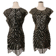 Womens Sequins Black Round Neck Bodycon Flapper Dress Club Cocktail Party Dress