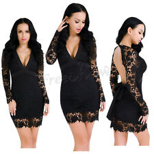 Women's Lace Floral Long Sleeve Hollow Deep V Backless Clubwear Party Mini Dress