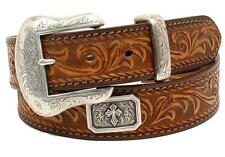 "Nocona Western Mens Belt Leather ""Prescott"" Made in USA Light Brown N2300037"