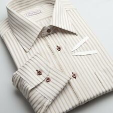 Yellow gold striped men's dress shirts | Contrast buttons | Non iron Twill Slim