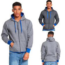 NEW MENS HOODIE CASUAL BLUE CONTRAST ZIP UP HOODED TOP HOODY SWEATSHIRT JACKET