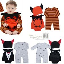 Infant Baby Boy Girl Halloween Pumpkin Outfit Bodysuit Romper Bat Cap Costumes