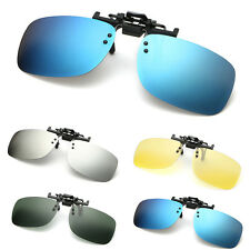 Polarized Clip On Flip Up Sunglasses Shades for Myopia Glasses Driving Eyewear