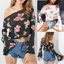 UK Womens Off Shoulder Shirt Top Blouse Casual Floral Ladies Shiny Cropped Tops