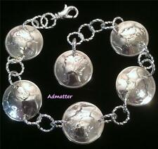 1941 STERLING SILVER MERCURY DIME CHARM BRACELET 76TH BIRTHDAY GIFT RARE COINS