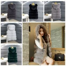 Women's Hooded Warm Outwear Slim Vest Fashion Girls Faux Fur Winter Jacket Coat
