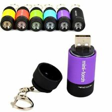 Mini USB Rechargeable LED Torch Lamp Flashlight Keychain Keyring Waterproof