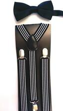 Big Boy's Satin Bow Tie & Suspender Sets- Perfect for Weddings- Choice of Colors