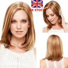 UK Women's Brown & Blonde Short Lob Straight Hair Synthetic Full Wig+Wig Cap
