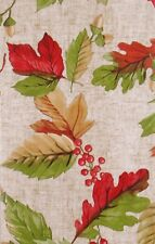 Fall Leaves, Berries and Acorns Vinyl Flannel Back Tablecloth Various Sizes