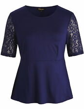 Chicwe Women's Stretch Peplum Plus Size Tunic Top wth Floral Lace Sleeves Navy