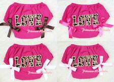 Hot Pink Bloomer Pantie wif Leopard Love Print & Optional Bow 4 Pettiskirt 6m-3Y