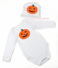 Halloween Baby Orange Pumpkin White Jumpsuit Hat Set Long Short Sleeve NB-12M