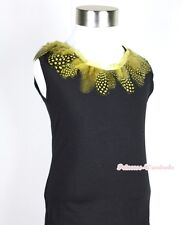 Black Tank Top Shirt Exotic Yellow Peacock Print Feather Lacing Pettitop NB-8Y