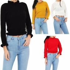 Ladies Knitted Jumper Top Women Long Sleeve Ruffle Frill Hem Fashion Tops  8-14