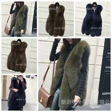 Women Faux Fur Vest Slim Fashion Long Coat Outwear Warm Overcoat Jacket Gilet