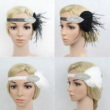 Vintage Feather Fascinator Headband 1920s Style Headwear Gatsby Hair Accessories