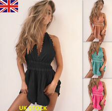 UK Women V Neck Lace Backless Jumpsuit Sleeveless Bodysuit Mini Playsuit Romper