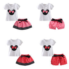 Baby Toddler Kid Girls Minnie Bowknot Skirt/Bloomer Shirt/Top Outfit Clothes Set