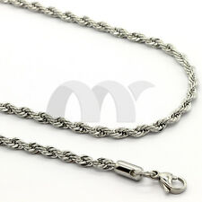 """2mm-6mm 16""""-20"""" Silver Stainless Steel Rope Links Twist Necklace Chain Men Women"""