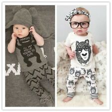 2pcs Letters Baby Clothes Outfits Set Infant Toddler Boys Girls Tops+Pants