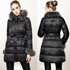 Women's Fashion 100% Real Fur Collar Hoodie Down Jacket Warm Parka Black Coat