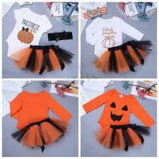 Baby Girl Halloween Pumpkin Cosplay Outfits Romper Costume Tutu Skirt Dress 0-2Y