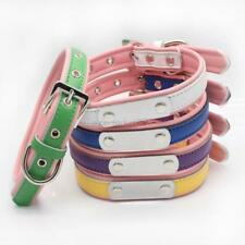 Pet Dog PU Leather Collar Personalized Puppy Choker Necklace Name Carving Collar
