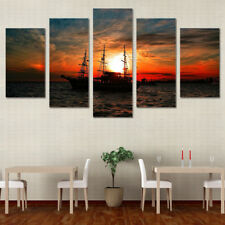 Boat Ocean Sunset Seascap Painting Frame Poster Print Canvas Wall Art Home Decor