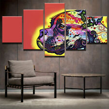 Psychedelic Colour Animal Dog Painting Modern Poster Canvas Wall Art Home Decor