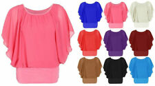 Ladies Over Size 2 in 1 Chiffon Batwing Top Women's Plain Batwing Sleeve Blouse