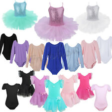 Kids Girls Ballet Dress Gymnastics Skate Leotard Tutu Skirt Dancewear Costumes